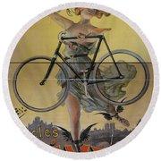 Rare Vintage Paris Cycle Poster Round Beach Towel