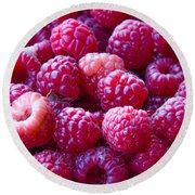Homegrown Organic Raspberries, Chiloquin Oregon Round Beach Towel