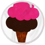 Raspberry And Chocolate Ice Cream Cone  Round Beach Towel