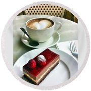 Raspberry Delice And Latte Round Beach Towel