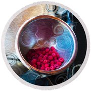 Raspberry Reflections Round Beach Towel