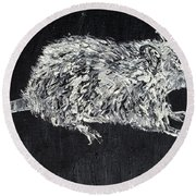Rat - Oil Portrait Round Beach Towel