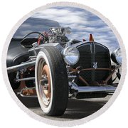 Rat Rod On Route 66 2 Panoramic Round Beach Towel