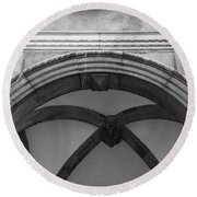 Rathaus Arch Bw Cologne Germany Round Beach Towel