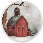 Raven And The Red Barn Round Beach Towel