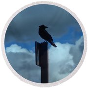 Raven Checking The Wind Round Beach Towel