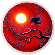 Raven In Ruby Red Round Beach Towel