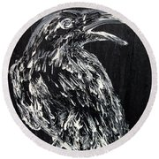 Raven On The Branch - Oil Painting Round Beach Towel