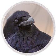 Raven Portrait Round Beach Towel