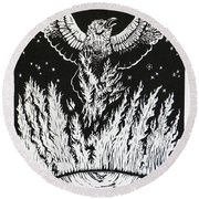 Raven Stealing Fire From The Sun - Woodcut Illustration For Corvidae Round Beach Towel