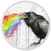 Raven Tastes The Rainbow Round Beach Towel