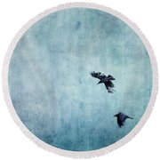 Ravens Flight Round Beach Towel by Priska Wettstein