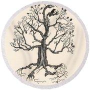 Raven's Magic Oak Round Beach Towel