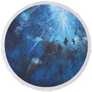 Ravens Of The Blue Round Beach Towel