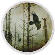 Ravens Of The Mist Artistic Expression Round Beach Towel