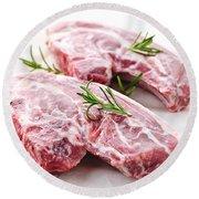 Raw Lamb Chops Round Beach Towel