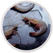 Raw Shrimp Round Beach Towel