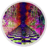 Rawa River Abstract Art Round Beach Towel by Mary Clanahan