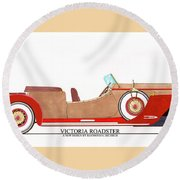 Ray Dietrich Packard Victoria Roadster Concept Design Round Beach Towel