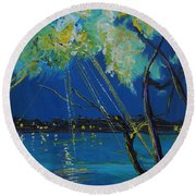 Rays Of Divinity Round Beach Towel