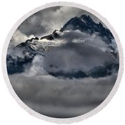 Rays Of Light On The Glaciers Round Beach Towel