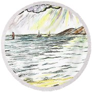 Rays Of Sunshine Between Clouds Round Beach Towel