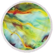 Rays Of The Sun Watercolor Abstraction Painting Round Beach Towel