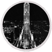 Rca Building At Night In Nyc Round Beach Towel