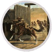 Re-closing Frontiersmen Coming Into The Fort Round Beach Towel