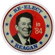 Re-elect Reagan Round Beach Towel by Paul Ward