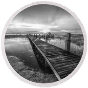 Reaching Into Sunset In Black And White Round Beach Towel