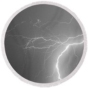 Reaching Out Touching Me Touching You Bw Round Beach Towel by James BO  Insogna