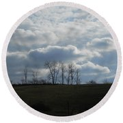 Reaching To The Clouds Round Beach Towel