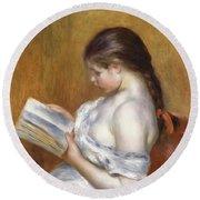 Reading Round Beach Towel by Pierre Auguste Renoir
