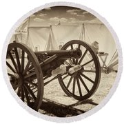 Ready For Battle At Gettysburg Round Beach Towel