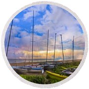 Ready For Sails Round Beach Towel by Debra and Dave Vanderlaan