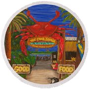 Ready For The Day At The Crab Shack Round Beach Towel
