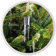 Real Christmas Icicles Round Beach Towel