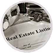 Real Estate Listing And Lock Box Round Beach Towel