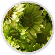 Real Green Flowers Round Beach Towel