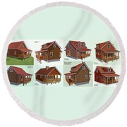 Realm Gallery Cabin Designs Round Beach Towel