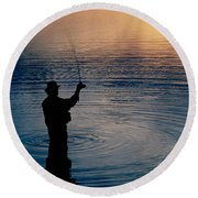 Rear View Of Fly-fisherman Silhouetted Round Beach Towel