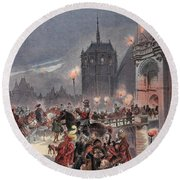 Reception Of Charles V In Amboise Round Beach Towel