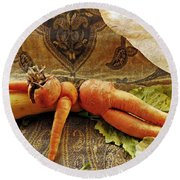Reclining Nude Carrot Round Beach Towel