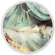 Reclining Nude In An Elegant Interior Round Beach Towel by Madeleine Lemaire
