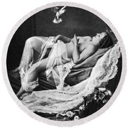 Reclining Nude With Bird Round Beach Towel