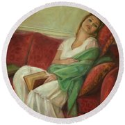 Reclining With Book Round Beach Towel