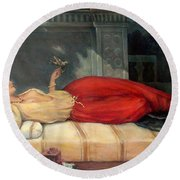 Reclining Woman Round Beach Towel