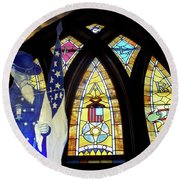 Recollection Union Soldier Stained Glass Window Digital Art Round Beach Towel