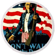 Recruiting Poster - Ww1 - Don't Wait For The Draft Round Beach Towel